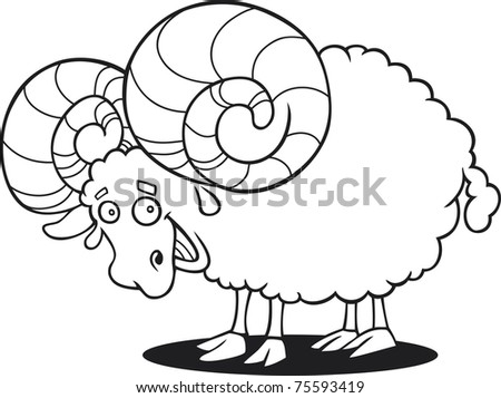 cartoon illustration of funny ram for coloring book