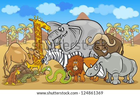 Cartoon Illustration of Funny Safari Wild Animals Group against Blue Sky and African Landscape