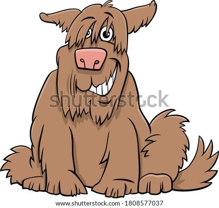 Cartoon Illustration of Funny Shaggy Sitting Dog Comic Animal Character Stock photo ©