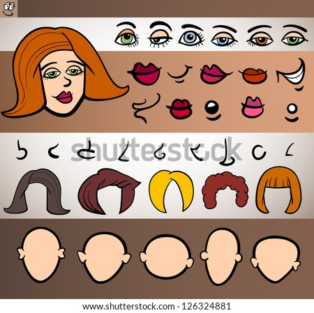 Cartoon Illustration of Funny Woman Face Elements such Eyes, Lips, Noses, Heads and Hair for Animation or Application