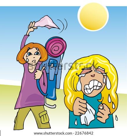 cartoon girl waving goodbye. stock vector : cartoon illustration of girls farewell after vacation