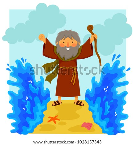 Cartoon illustration of happy Moses parting the red sea in the biblical story