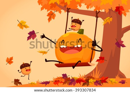 cartoon illustration of happy pumpkin and acorns playing on swing in autumn leaves