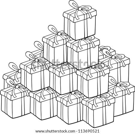Cartoon Illustration of Heap of Christmas Presents for Coloring Book or Page