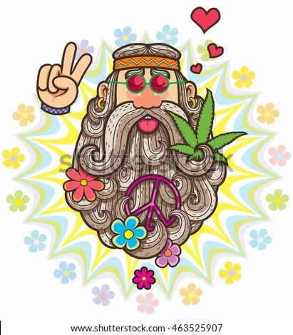 cartoon illustration of hippie