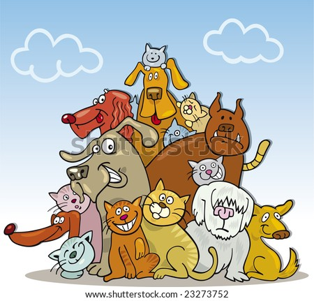 cartoon illustration of large group of funny cats and dogs