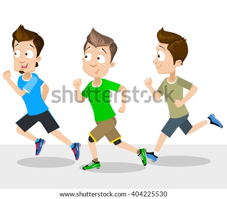 Cartoon illustration of male guys running