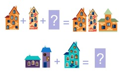 Cartoon illustration of mathematical addition. Examples with buildings. Educational game for children. Vector image.