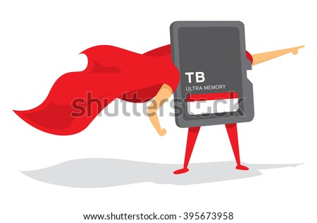 Cartoon illustration of memory card super hero standing with cape