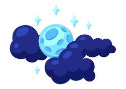 Cartoon illustration of moon in clouds. Happy Halloween celebration.