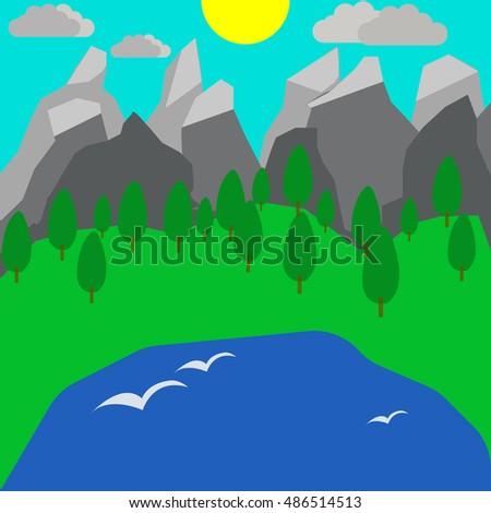 cartoon illustration of nature