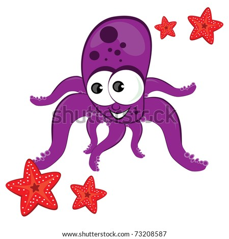 Cartoon illustration of octopus with starfish Isolated on white