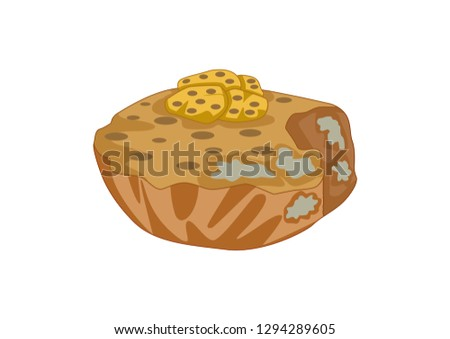 cartoon illustration of rotting food, food isolated on a white background