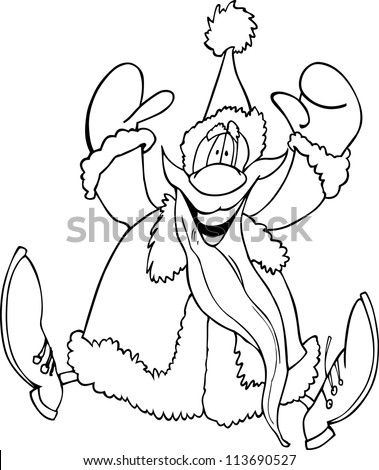 Cartoon Illustration of Santa Claus or Father Christmas or Papa Noel for Coloring Book or Page