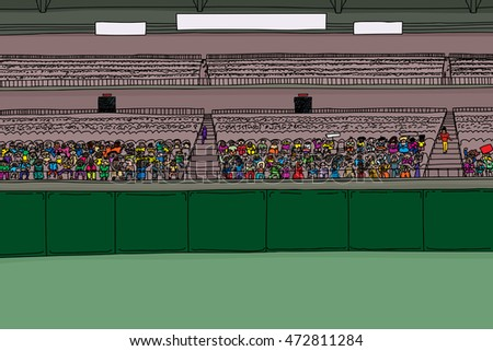 Cartoon illustration of stadium with large diverse crowd under blank scoreboard signs
