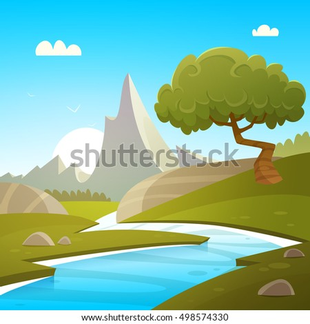 Cartoon illustration of summer landscape with river and mountain in background.d