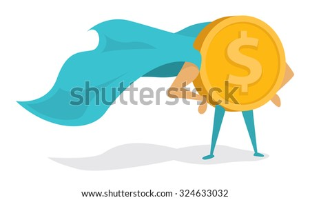 Cartoon illustration of super hero coin standing proudly with cape