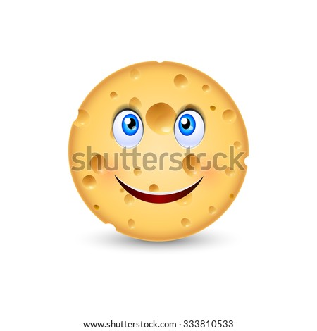 Cartoon illustration of Swiss Cheese with smiling face