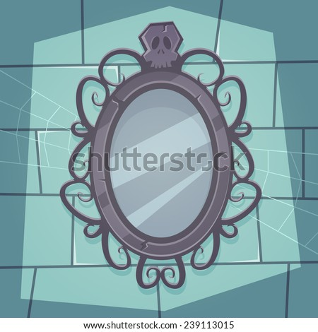 Cartoon illustration of the creepy retro mirror with skull.