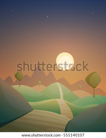 Cartoon illustration of the night countryside landscape with road and trees.