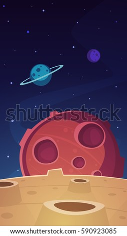 Cartoon illustration of the outer space with planets. Game background.