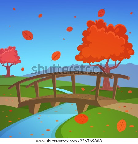 Cartoon illustration of the rural autumn landscape with small wooden bridge.