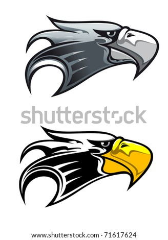 Cartoon illustration of the side view of the head of a proud eagle with a cruel hooked beak in two colour variants isolated on white. Jpeg version also available in gallery