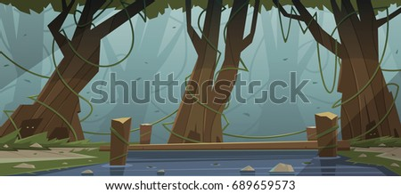 Cartoon illustration of the small wooden bridge in the woods.
