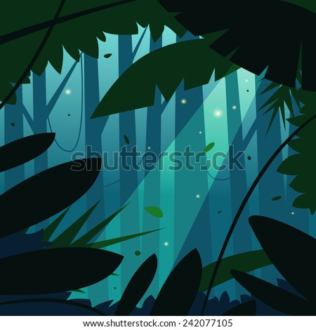 Cartoon illustration of the tropical rain forest jungle.