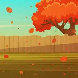 Cartoon illustration of the wooden fence with tree. Autumn landscape.
