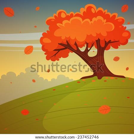 cartoon illustration of tree on