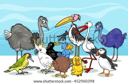 Cartoon Illustration of Various Birds Animal Characters Group