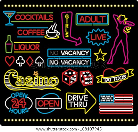 Cartoon illustration of various neon light signage and design elements, isolated on black.