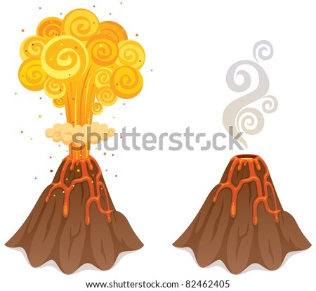 cartoon illustration of volcano