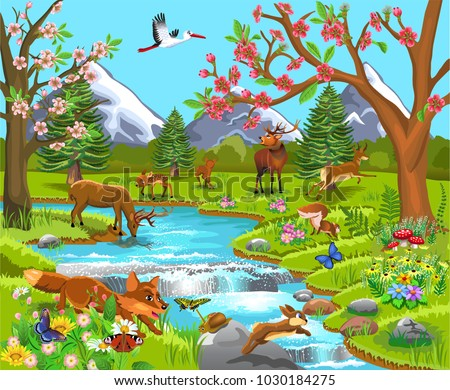 Cartoon illustration of wild animals in a spring natural landscape