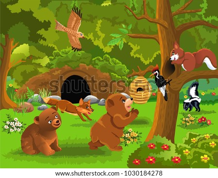 cartoon illustration of wild animals living in the forest #1030184278