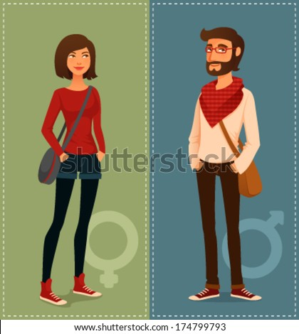 cartoon illustration of young people in hipster fashion clothes