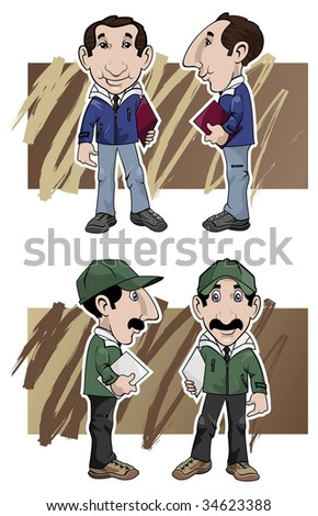 Cartoon illustration. Two salesmen by different views: front and side, with different clothing colors
