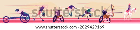 Cartoon illustration with faceless disabled people on abstract background