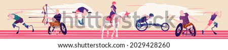 Cartoon illustration with faceless disabled people on abstract with cubes background