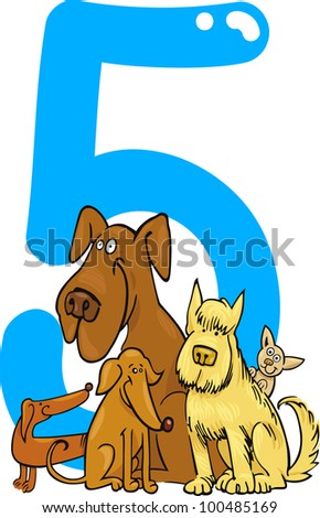 cartoon illustration with number five and dogs - stock vector