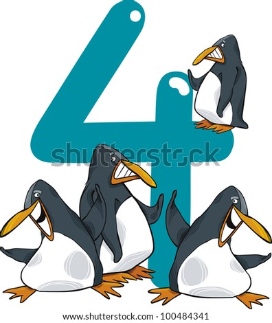 cartoon illustration with number four and penguins