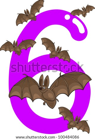 cartoon illustration with number six and bats