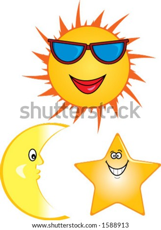 stock vector : Cartoon illustrations of smiling sun, moon and star.