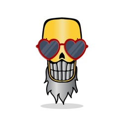 cartoon image of angry and funny golden skull