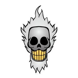 cartoon image of angry and funny skull with golden teeth