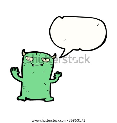 cartoon imp with speech bubble