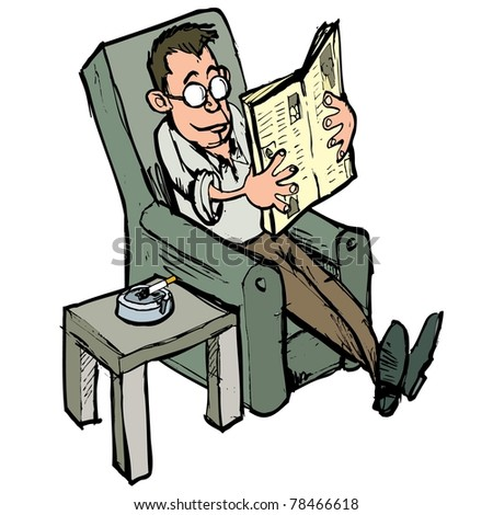 Cartoon in a lounge chair reading a newspaper with ash tray on the side table