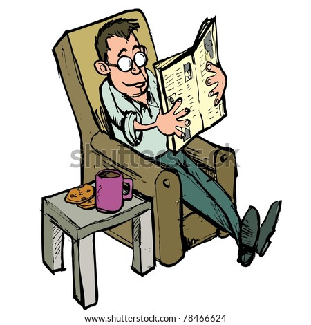 Cartoon in a lounge chair reading a newspaper with coffee on the side table