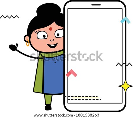 cartoon indian lady with empty
